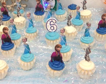 Your Cupcake is Her Dress  Disney Frozen Cupcake Toppers Princess Birthday Party Decorations Set of 12 Unique and very cute