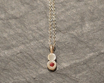 Ruby Necklace, Silver Ruby Necklace, Ruby Charm, Sterling Silver Charm