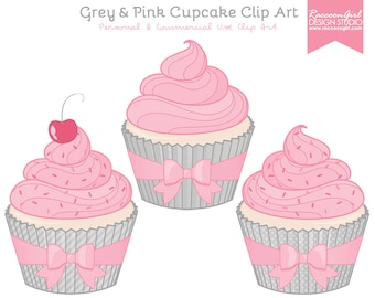 50% OFF Grey and Pink Cupcake Clip Art Set - Personal & Commercial Use