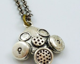 Industrial Gasmask Pendant Necklace with  gun metal chain
