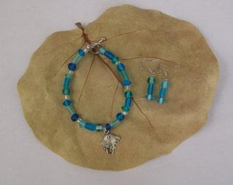 Ocean Inspired Bead Bracelet and Earrings