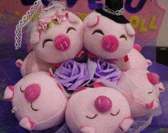 Wedding Pig Plush Flower Bouquet. Great for Wedding, Anniversary, Proposal!