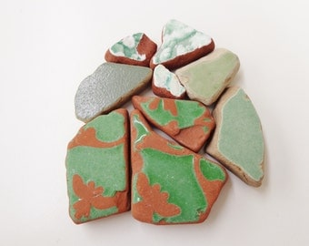 Set of 9 green genuine Croatian sea pottery shards supply for art mosaics jewelry crafts, Mediterranean aromatherapy beachfinds supplies