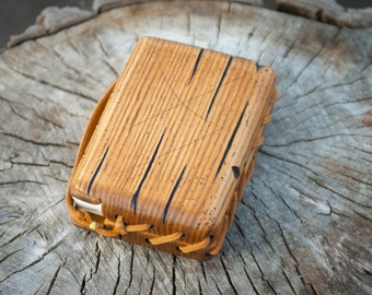 Unique custom two pieces distressed ash wood handmade  journal / natural finish  / ready to ship