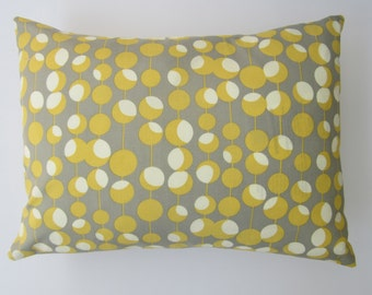 Lumbar pillow cover - yellow/grey/cream dot print, fits a 12x16 - 100% Cotton