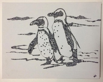Paisley Penguins Canvas - 20 x 26cm - Black and White.
