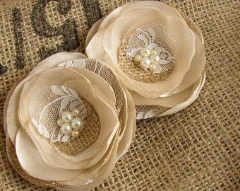 Rustic Hair Piece - Burlap and Lace - Set of 2 Rustic Wedding Hair Flower - Gold Champagne Flower Hair Clips - Bridesmaids - Flower Girl