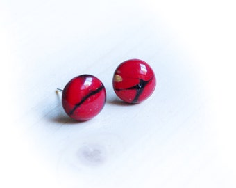 Red, black and golden stud earrings polymer clay