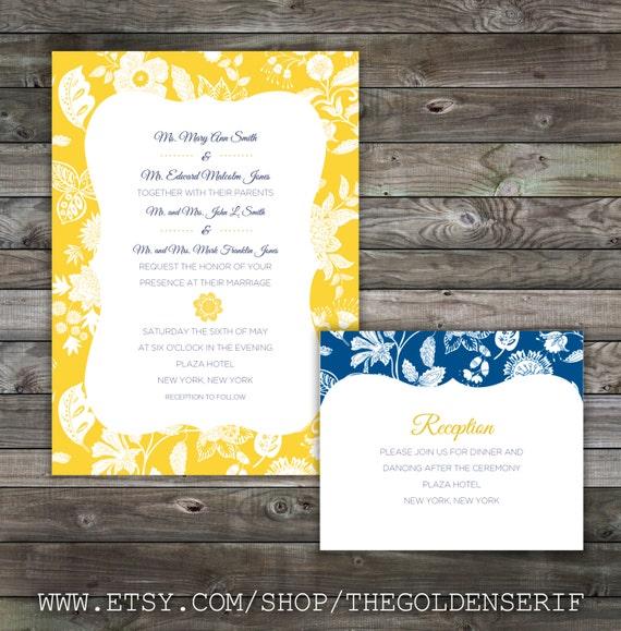 Items Similar To Yellow And Blue Wedding Invitation Set On