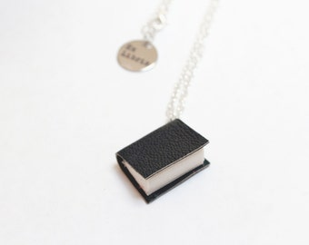 Small Leather Book Necklace - Handcrafted/ Upcycled Leather Bound Miniature - OOAK - Dark Charcoalish Greeny Black - Book Jewellery