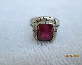 VINTAGE STERLING RING, ruby crystal ring, mexico 925 ring, silver and red stone, square ruby like ring, silver with red stone, fifties ring
