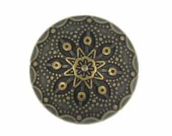 Metal Buttons - Antiqued Brass Gothic Flower Domed Metal Shank Buttons - 20mm - 3/4 inch - 6 pcs