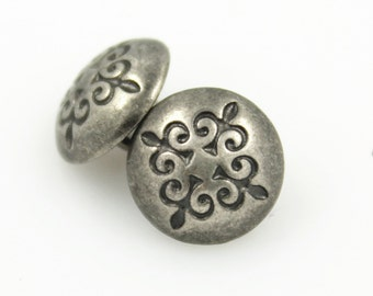 Metal Buttons - Trefoil Cross Nickel Silver Domed Metal Shank Buttons - 10mm - 3/8 inch - 6 pcs