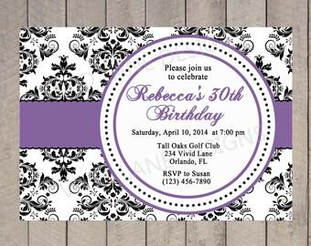 Adult Birthday Invitation, Black and White, Purple, 21st, 25th, 30th, 35th, 40th, 45th, 50th, 60th, 65th, 70th, 75th, 80th Damask 6006