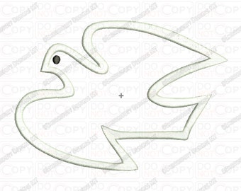 Dove Peace Bird Applique Embroidery Design in 3x3 4x4 and 5x7 Sizes
