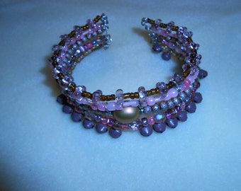 5 strand pink and brown cuff bracelet