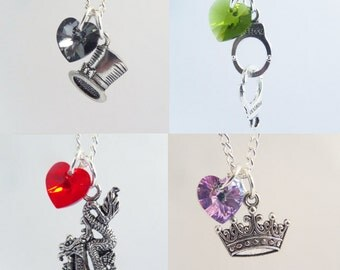 Mad Hatter, Graham, Mulan, Aurora Once Upon A Time Character Necklaces