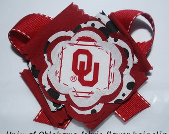 University of Oklahoma OU Hair Fabric Flower Bow for Girls