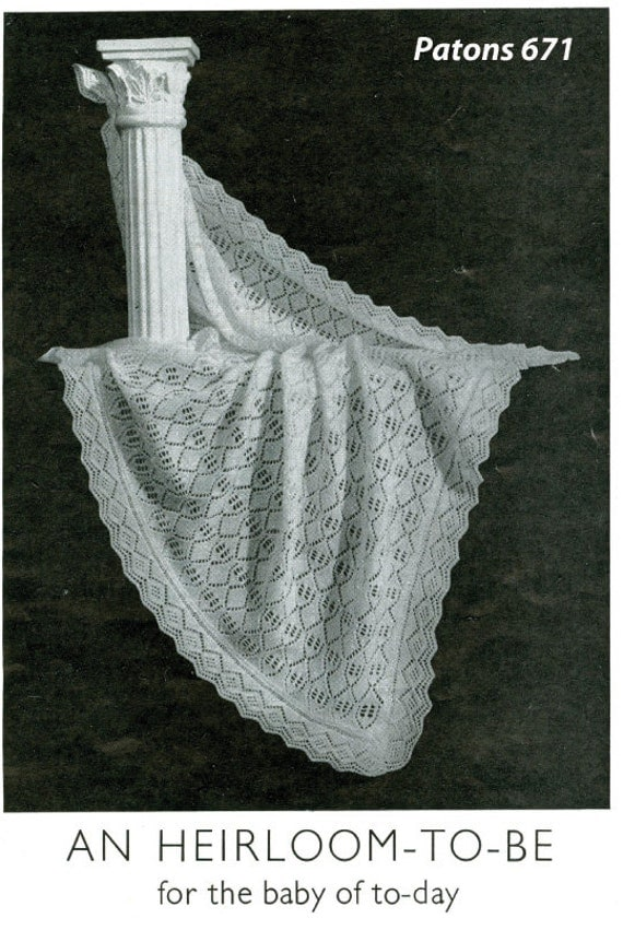 Vintage 1940s Heirloom Shawl to knit for baby. by OzgirlfromOz