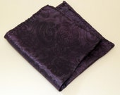 Upcycled Purple Paisley Suit Lining Handkerchief / Pocket Square