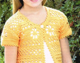 Utterly buttercup  girls summer short sleeve cardigan  vintage crochet pattern PDF instant download