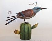 Hand carved bird on saguaro cactus folk art sculpture