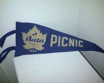 Rare Bata Shoe Canada 1946 Picnic Pennant