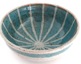 Wheel thrown ceramic bowl in gray and teal  MADE TO ORDER