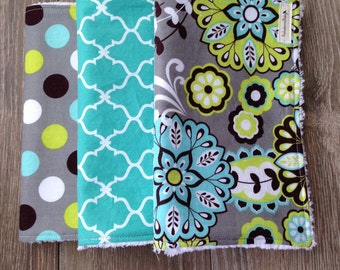 Baby Girl Chenille Burp Cloth Set-Grey, Teal and Green Pattern