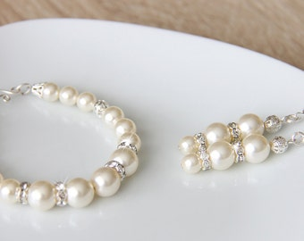 Bridal Jewelry Set, Ivory Swarovski Pearl Bridal Jewelry Bracelet, Pearl Earrings, art. 200 Nuova Vita