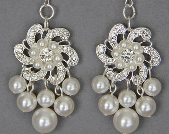 Bridal Jewelry, White Swarovski Pearl Bridal Earrings, Long Bridal Earrings, Wedding Earrings, Wedding jewelry art. e07