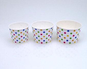 Assorted Polka-Dot 16 oz ice cream / frozen yogurt cup