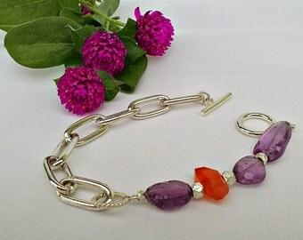 Amethyst & Carnelian Bracelet