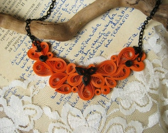 1st Wedding Anniversary gift, Paper Jewelry, Paper Anniversary  Paper Necklace, Orange  and Black Necklace  Paper Jewelry Bridesmaid Jewelry