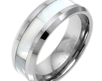 Tungsten Men's Mother of Pearl Inlaid Stripe Beveled Band Ring Size 9-13 TW
