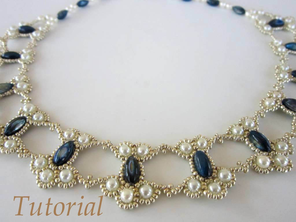 pdf tutorial lace beaded necklace seed bead pearl oval bead. Black Bedroom Furniture Sets. Home Design Ideas