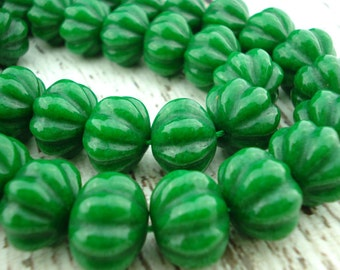 Carved Melons, Dyed Jade Beads, Qty 4 Deep Green Pumpkin Beads, Halloween Fall Beads, 18mm x 13mm Perfect Sized for Earrings or Pendants