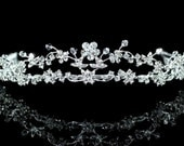 Exquisite Bridal Wedding 2 Row Flowers Crystal Rhinestone Tiara Headband Comb (477)