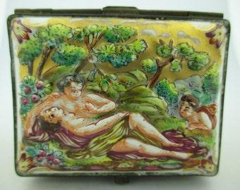 Antique Multi Colored Capodimonte Porcelain Hand Painted Box w/ Pastoral Scene.