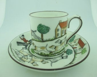 Vintage Hand Painted English Staffordshire Porcelain Demitasse Cup & Saucer  w/ Hunting Scene.