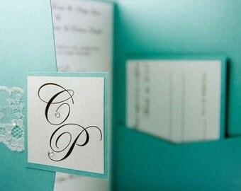 Wedding invitations, Lace pocket fold invitations, Elegant invites, Monogram invitations, Blue invitations, Pocket holder invites