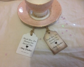 Thank You For Sharing Our Special Day, Personalised Favour Tags x 12