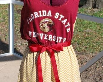 Florida State FSU Noles Seminoles Game Day Chevron Racer Back Tank Dress Upcycled T-Shirts XS, S, M, L, XL