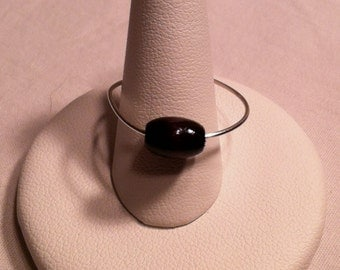 Adjustable Silver Wire Ring With Black Bead  Wire Wrapped