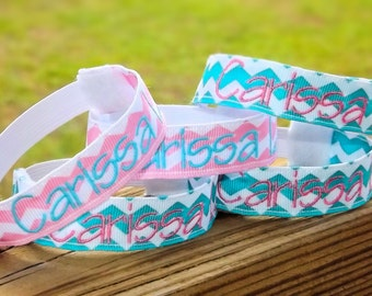 Personalized Monogrammed Water Bottle Name Bands in Chevron, Stripes & Polka Dots
