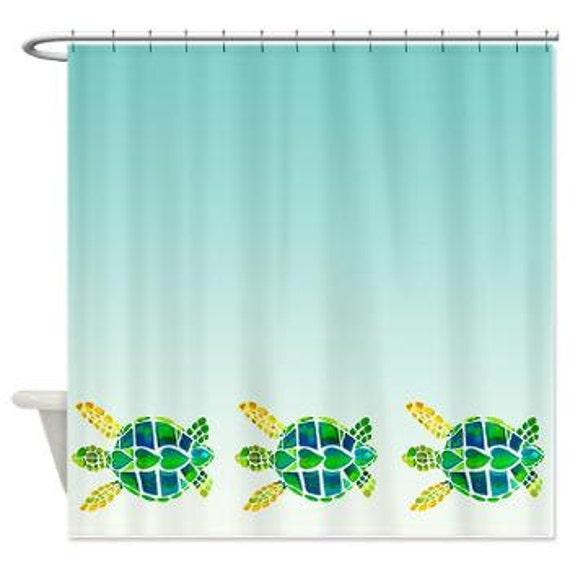 Items similar to swimming sea turtles fabric shower Swimming pool shower curtain