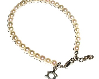 "Sterling Silver Star of David Bracelet for Girls with Freshwater Pearls for Bat Mitzvah Gift (7 - 7 1/2"" Adjustable) with Gift Box (026)"