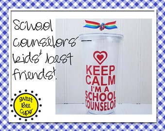 Personalized Acrylic Cup Md - Keep Calm I'm a School Counselor 16 oz. Acrylic Cup for Guidance Counselor, Advisor, School Couselor BPA FREE