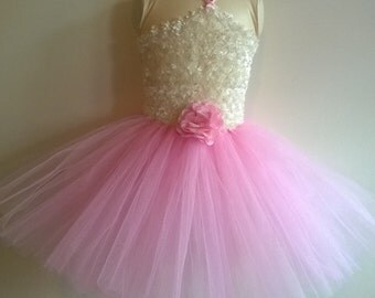Pink and white flower girl dress, special occasion, birthday dress girl's size 12 months to 3T