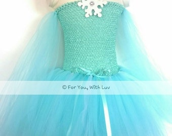 Elsa Princess dress, ice queen birthday dress, costume, dance gown, pageant dress, flower girl dress, playing dress up, aqua or turquoise.